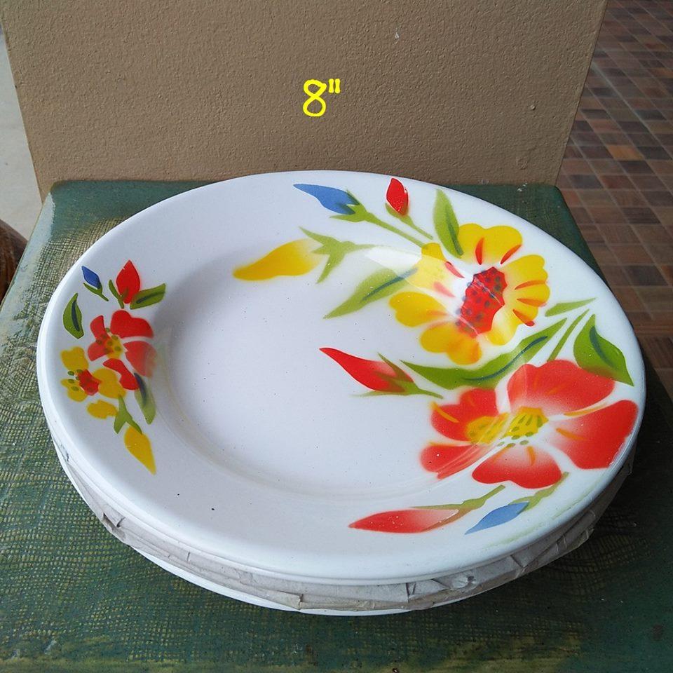 จานอินาเมลลายดอกไม้ ขนาดกว้าง 8 นิ้ว