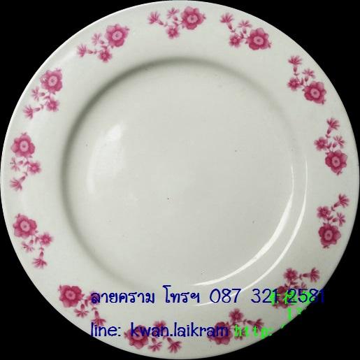 จานกระเบื้องลายดอกไม้ งานเก่าหลายปีจากจีน