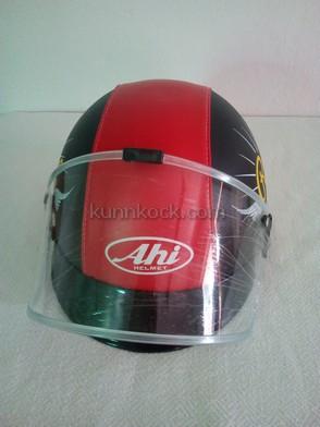 หมวกกันน็อค แบบครึ่งใบ เด็กโต-ผู้ใหญ่-เอเฮชไอดำแดง : Ahi Black Red