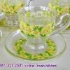 ชุดชากาแฟลายดอกไม้ เนื้อคริสตัลของ ADERIA จากญี่ปุ่น