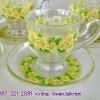 ชุดชากาแฟลายดอกไม้ เนื้อแก้วใส งานใหม่แกะกล่องงานคริสตัลของ ADERIA จากญี่ปุ่น