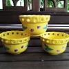 ถ้วยเซรามิกขอบฉลุ สีเหลืองสดใส งานญี่ปุ่น