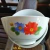 ถ้วยข้าวหรือถ้วยแบ่งซุป เนื้อกระเบื้องลายดอกไม้