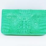 สินค้าแนะนำ : กระเป๋าสตางค์หนังจระเข้แท้ ซิปคู่ สีเขียว