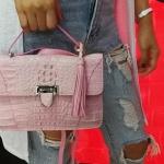 กระเป๋าสะพายหนังจระเข้แท้ สีชมพู รหัส CRW1217H-02-PI2