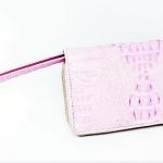 สินค้าแนะนำ : กระเป๋าสตางค์หนังจระเข้แท้ ซิปคู่ สีชมพู