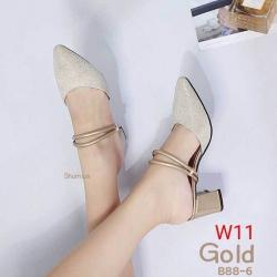 รองเท้าแฟชั่น Shumiya สีดำ / สีทอง / สีขาว