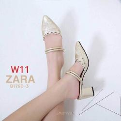 รองเท้าแฟชั่น ZARA สีดำ / สีทอง / สีชมพู