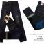 กางเกงยีนส์ ริมแดง ขากระบอกเล็ก สีสนิม
