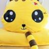 SC0011 Free ปักชื่อบนผ้าห่ม!! ตุ๊กตาหมอนผ้าห่มแมวเหมียวแอ๊บแบ๊ว สีเหลือง น่ารัก มีที่ซุกมือ ผ้าห่มนุ้มนุ่ม