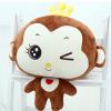 SC0024 Free ปักชื่อบนผ้าห่ม!! ตุ๊กตาหมอนผ้าห่มลิงจอมแก่นสีน้ำตาล ใส่มงกุฏสีเหลืองน่ารัก มีที่ซุกมือ และผ้าห่มอุ่นๆ